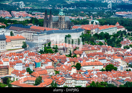 View on St. Vitus church and Prague city center, aerial view - Stock Photo