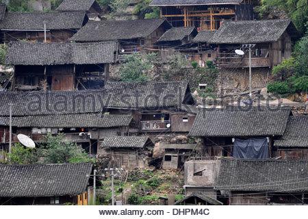 China,Guizhou province,traditional houses - Stock Photo