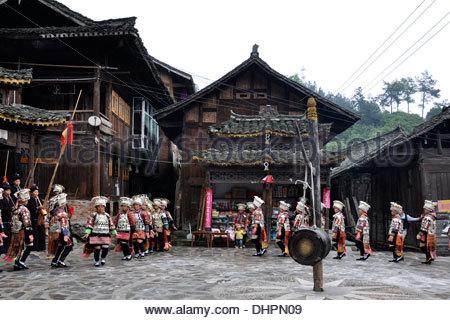 China,Guizhou province,Datang village,Miao tribe - Stock Photo