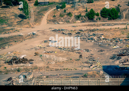 aerial view on junk yard by Soma, Turkey 2013 - Stock Photo