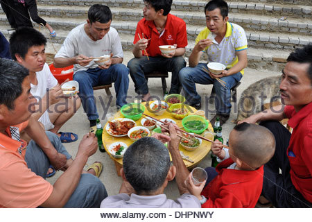 China,Guizhou province,Zhaoxing village,lunch - Stock Photo