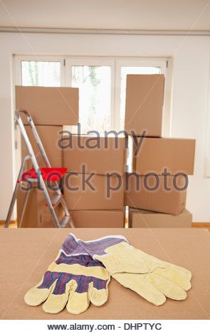Cardboard box room packing nobody empty ladder - Stock Photo