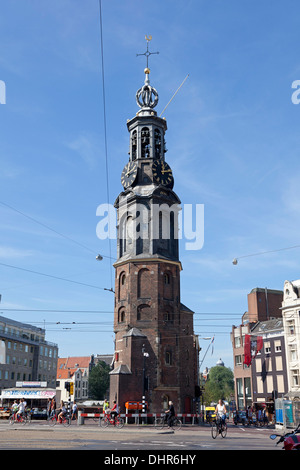 Munt tower in Amsterdam, Holland - Stock Photo