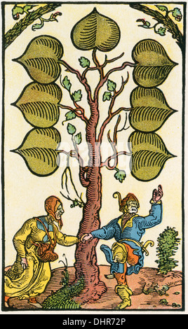 16th century German playing card. - Stock Photo