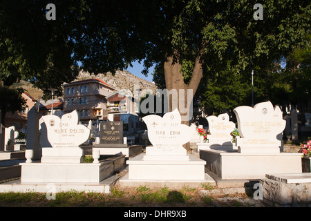 muslim cemetery, old town, east side, mostar, bosnia and herzegovina, europe - Stock Photo