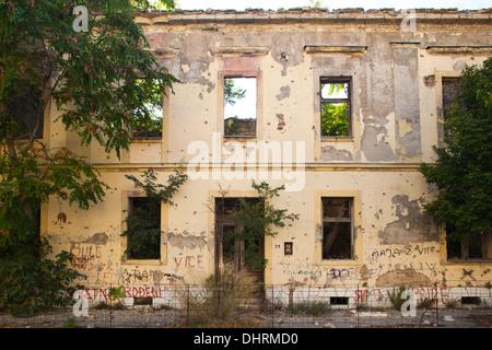 bombed building, west side, mostar, bosnia and herzegovina, europe - Stock Photo