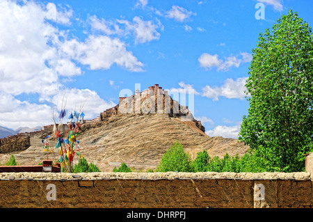 Gyantse Dzong fortress Tibet - Stock Photo