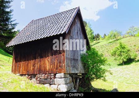 Haystacks in Bermersbach Black Forest Germany - Stock Photo