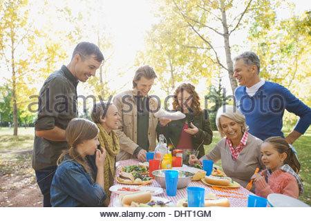 Happy multi-generation family enjoying picnic in park - Stock Photo