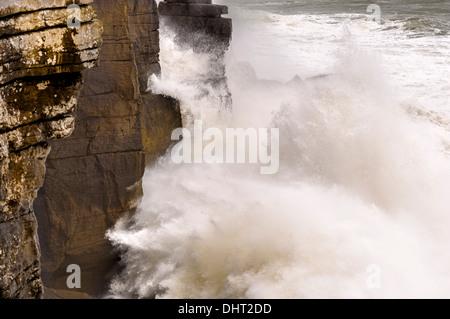 Rough sea at Cabo Carvoeiro, near Peniche, Portugal - Stock Photo