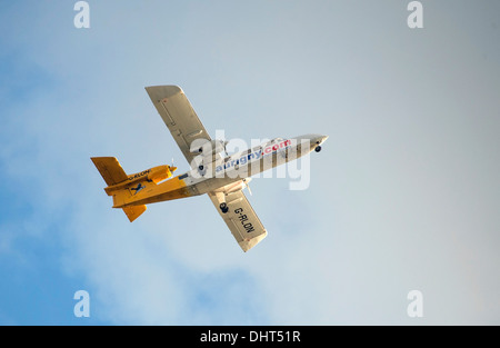Aurigny Air Services Trislander aircraft taking off - Stock Photo