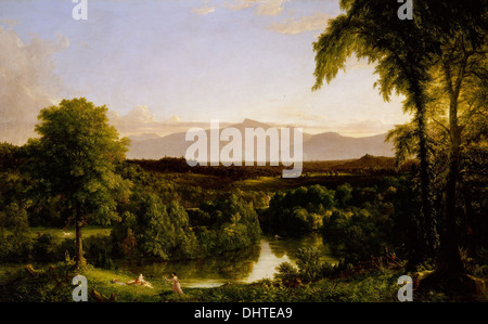 View on the Catskill - Early Autumn - by Thomas Cole, 1837, Hudson River School - Stock Photo
