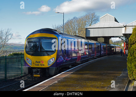 First Transpennine Express Class 185 at Oxenholme station. Cumbria, England, United Kingdom, Europe. - Stock Photo