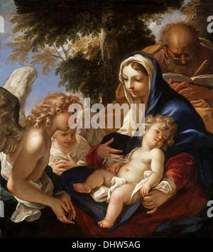 The Holy Family with Angels - by Sebastiano Ricci, 1700 - Stock Photo