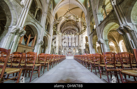 interiors of san remi cathedral of reims - Stock Photo