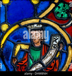 Prophet King from a Tree of Jesse, 1260–70, Stained glass, Germany - Stock Photo