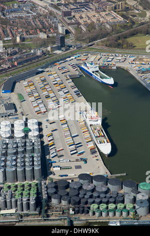 Netherlands, Rotterdam, Port, Harbour. Quay for Roll On, Roll Off, RORO ferries. Aerial - Stock Photo