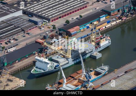 Netherlands, Rotterdam, Port of Rotterdam. Support ship. Aerial - Stock Photo