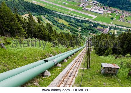Switzerland,Canton Ticino,Ritom-Priora,cable car rope - Stock Photo