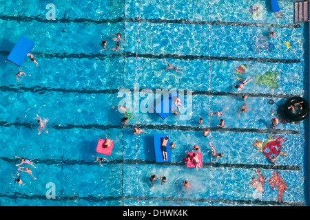 Netherlands, Kockengen, Municipal outdoor swimming pool. Aerial - Stock Photo
