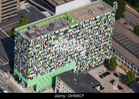 Netherlands, Utrecht, University of Utrecht. Colourful apartment building called Casa Confetti. Student housing. - Stock Photo