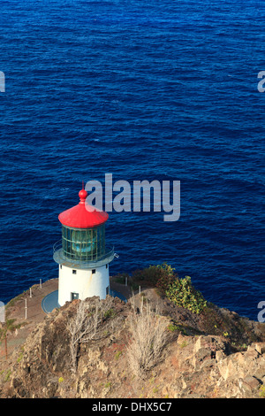 USA, Hawaii, Oahu, Makapuu Point, Lighthouse - Stock Photo