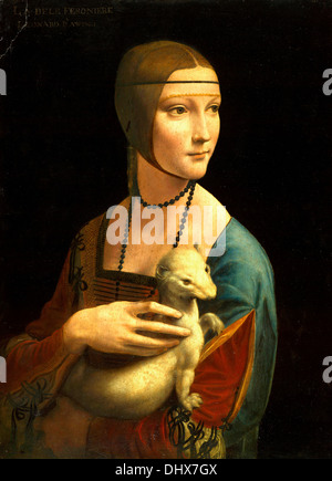 Lady with an Ermine is a painting by Leonardo da Vinci, 1489–1490 - Editorial use only. - Stock Photo