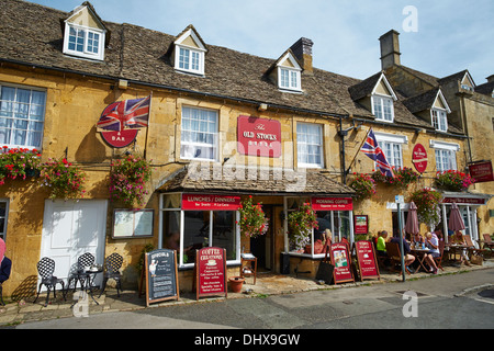 The Old Stocks Hotel Market Square Stow-on-the-Wold Gloucestershire Cotswolds UK - Stock Photo