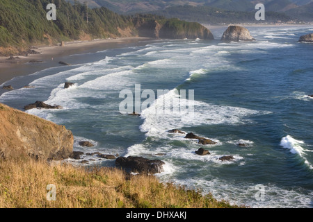 Crescent Beach from a view point in Ecola State Park near Canon Beach, Oregon. - Stock Photo