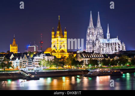 Cologne, Germany skyline on the Rhine River. - Stock Photo