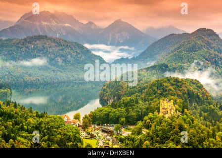 Misty day in the Bavarian Alps near Fussen, Germany. - Stock Photo