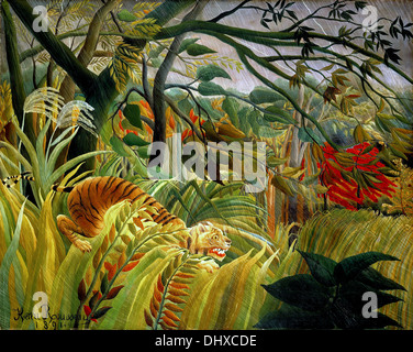 Tiger in a Tropical Storm (Surprised!)  - by Henri Rousseau, 1891 - Stock Photo