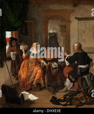 A Musical Party - by Gabriel Metsu, 1659 - Stock Photo
