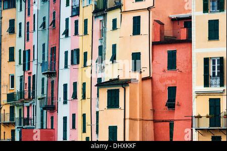 Colorful house facades, Porto Venere, Liguria, Italy - Stock Photo
