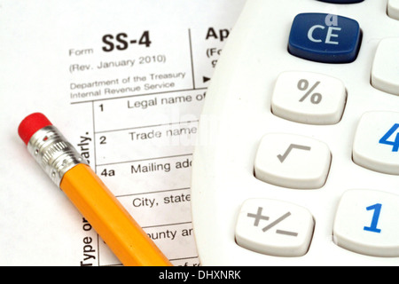 Irs Form Ss 4 With Tax Prep Tools Stock Photo 62668162 Alamy