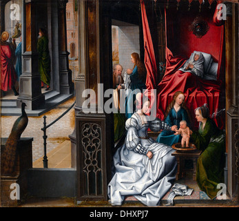 The Birth and Naming of Saint John the Baptist - by Bernard van Orley 1515 - Stock Photo