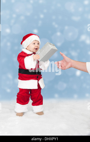 little father christmas with goft - Stock Photo