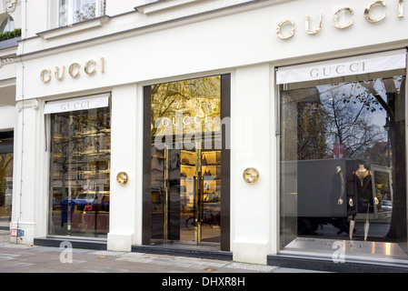 The fashion company Gucci is the biggest-selling Italian brand in the world. Gucci's elegant store in the central - Stock Photo