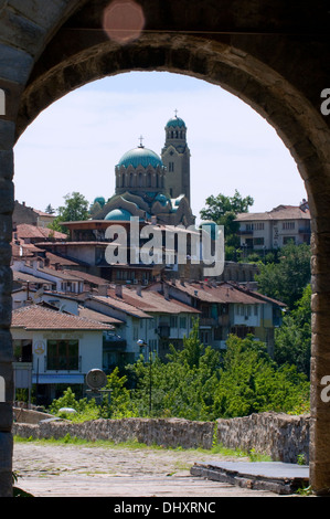 Saint Mary, Nativity of the Holy Mother Cathedral Veliko Tarnovo Bulgaria seen through the arch as you leave the - Stock Photo