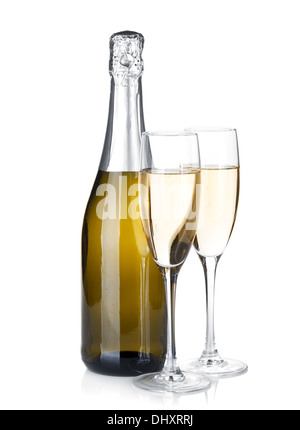 Champagne bottle and two glasses. Isolated on white background - Stock Photo