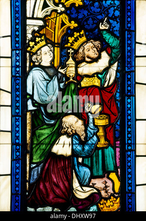 Adoration of the Magi from Seven Scenes from the Life of Christ, 1390, stained glass, Austria - Stock Photo