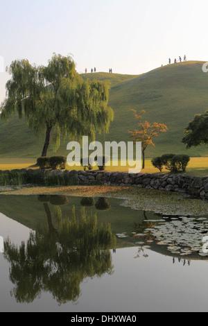 South Korea, Gyeongju, Tumuli Park, Royal Tombs, - Stock Photo