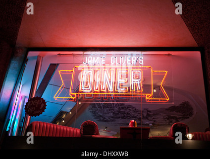 Jamie Oliver's Diner in Shaftesbury Avenue in West End of London - Stock Photo