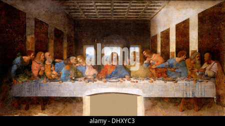 The Last Supper - by Leonardo da Vinci, 1498, Santa Maria delle Grazie, Milan, Italy - Stock Photo