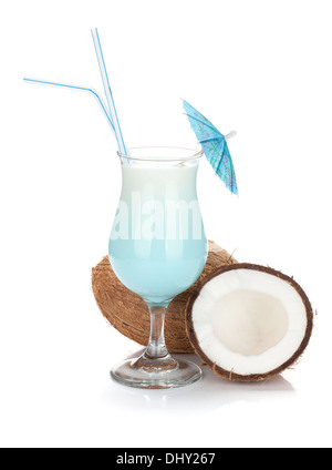 Blue coconut cream cocktail. Isolated on white background - Stock Photo
