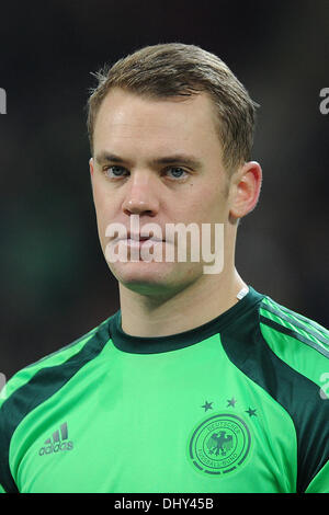 Milan, Italy. 15th Nov, 2013. Germany's goalkeeper Manuel Neuer is pictured during the national anthems prior to - Stock Photo