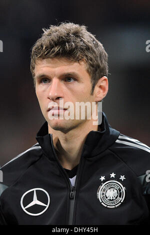Milan, Italy. 15th Nov, 2013. Germany's Thomas Mueller is pictured during the national anthems prior to the friendly - Stock Photo