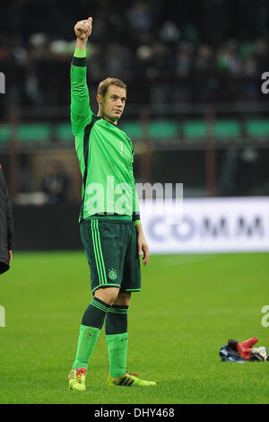Milan, Italy. 15th Nov, 2013. Germany's goalkeeper Manuel Neuer gestures after the friendly soccer match between - Stock Photo