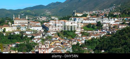 View over Ouro Preto, Minas Gerais, Brazil - Stock Photo