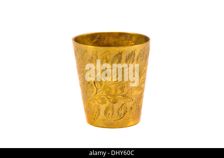 ancient engrave brass cup isolated on white background - Stock Photo
